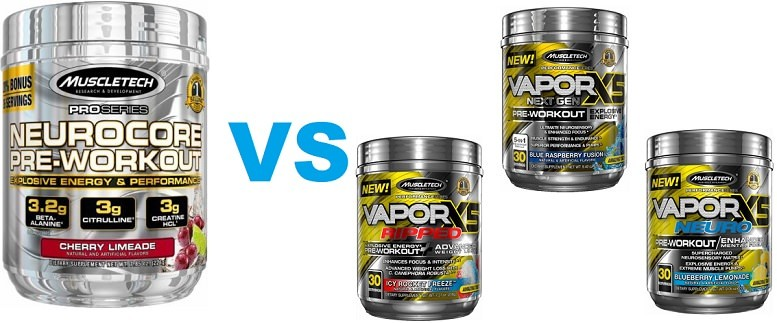 Muscletech Neurocore and Vapor X5 Differences