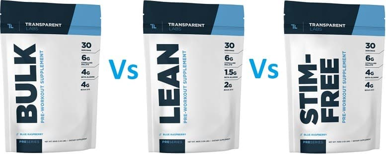 Differences between transparent labs pre workouts