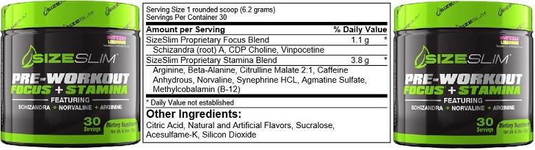 Size Slim PWO Ingredients