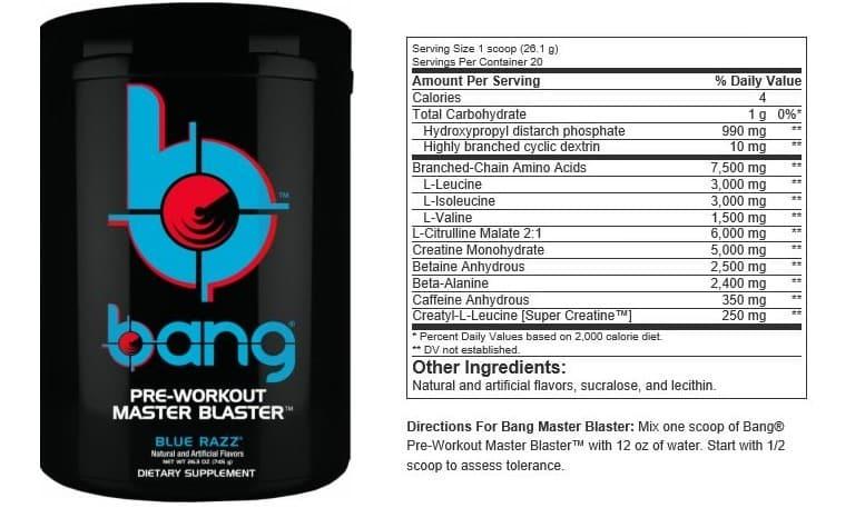 Bang Pre Workout Ingredients