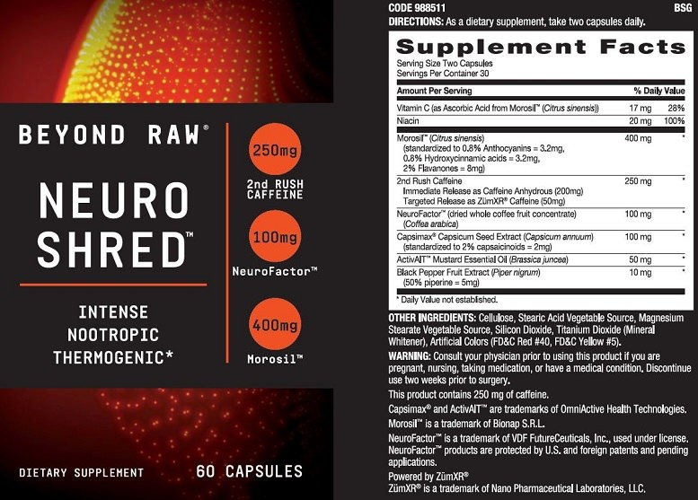 Ingredients in Neuro Shred by GNC Beyond Raw