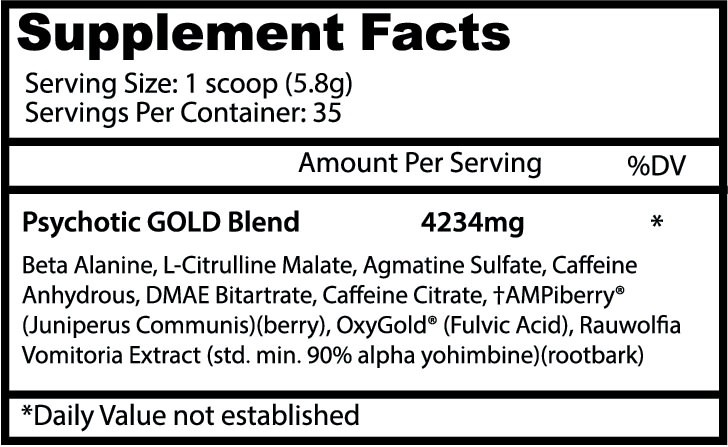 Insane Labz Psychotic GOld Ingredients