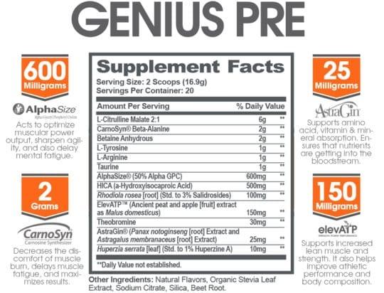 Genius Pre Workout Ingredients